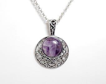 Amethyst Moon Necklace - Purple Moon - Gemstone Necklace - Crescent Moon Necklace