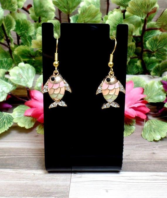 Pastel Fish Earrings - Beach Earrings - Rhinestone Fish Earrings - Dainty Earrings - Charm Earrings - Free US Shipping