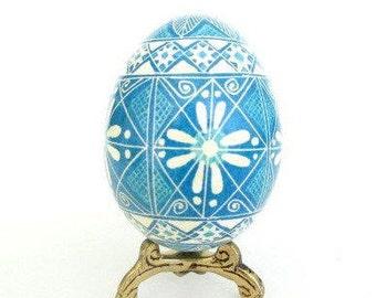 Blue Pysanka egg Ukrainian Easter egg baby boy baptism keepsake baby first Christmas ornament unique and sweet personalized egg ornaments