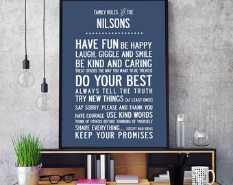 Personalized Family Rules Poster Print. Size Large A2