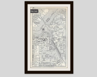 Ottawa Canada Map, City Map, Street Map, 1950s, Black and White, Retro Map Decor, City Street Grid, Historic Map