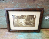 Antique framed photograph Cemetery Gravestone memorial sepia photo