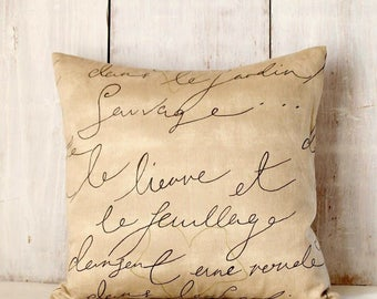 Penmanship Script Pillow Cover - Parchment Pillow - French Script - Tan Throw Pillow - Beige Black Pillow - Cottage - Vintage - Farmhouse