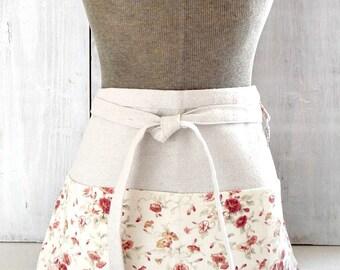 Shabby Cottage Chic Half Apron - Red Floral Apron - Red Flowered Garden Apron - Teacher Apron - Vendor