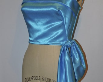 Marilyn Blue Satin Pinup Bodice Top Blouse, Hip Drape Sun Blouse Casual Pin Up Ready To Ship- SIze M Medium L Large