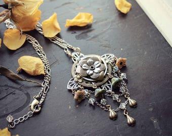 Silver & Swarovski Floral Pendant - Necklace - Choker - Fantasy Winter Wedding - Bridal - Holidays - December - Christmas
