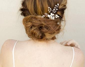 "Bridal Hair Pin, Beaded Hair Pin, Bridal Accessories ~ ""Cherise"" Rhinestone, Crystal and Pearl Bridal Hair Pin in Silver or Gold"