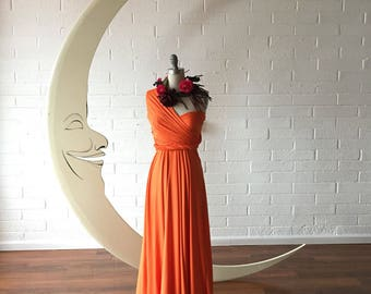 "Ready Made- Standard 50""  Long Tugboat Orange Citrus~ Maxi Octopus Infinity Wrap Dress~ Summer Flame, Bridesmaids, Maternity"