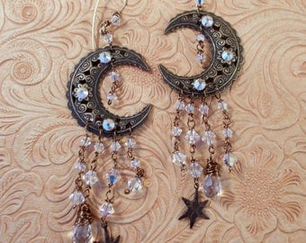 Gypsy Cowgirl Earrings - Brass Filigree Moon, Stars with Clear AB Swarovski Crystal