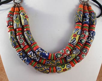 Statement Necklace Set Tribal Style - African Glass Beads with Howlite and Coral