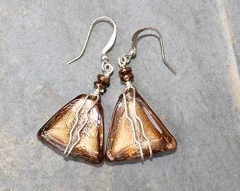 Wire Wrapped Earrings, Brown Earrings, Glass Earrings, Spring Earrings, Triangle Earrings, Sparkly Earring, Handmade Earring, Dangly Earring
