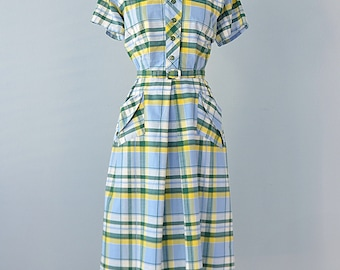 Vintage 1940s Daydress...KAY WHITNEY Blue and Yellow Plaid Cotton Dress