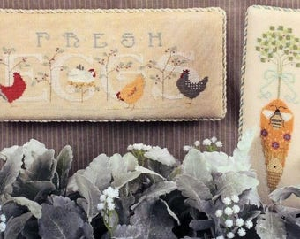 Cross Stitch Pattern, Fresh Eggs, Farmhouse Decor, Bee's Garden, Garden Decor, Counted Cross Stitch, Cricket Collection, PATTERN ONLY