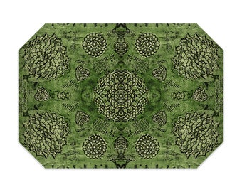 Bohemian placemat, green placemat, boho, printed lace pattern, cloth placemat, washable polyester fabric placemat, table linens
