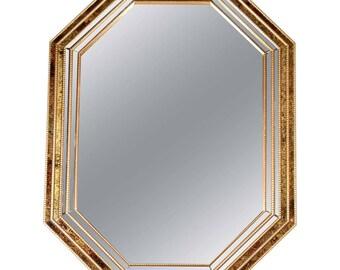 Venetian Style Octagonal Faux Tortoise Mirror