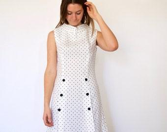 70s White Black Polka Dot Sailor Buttons Shift Dress s m