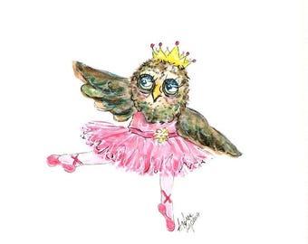Owl, Dancing Owl, Ballerina Owl, Forest Nursery, Owl Art,Owls, Woodland Nursery, Nursery Art, Kids Room Decor, Babys Room