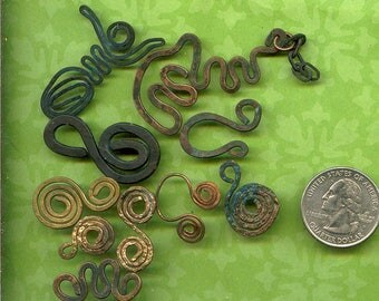 Closeout SALE  -  10 Wire Charms - Pendants - Copper, Brass Spirals, Symbols, Goddesses