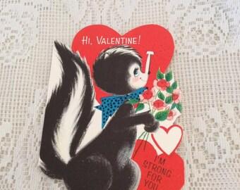Vintage 1950s Valentine Card Hallmark Skunk With Flowers Collectible Paper Ephemera Arts Crafts Scrap Booking