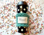 Blessed & Choose Joy turquoise cup cozy, coffee lovers gift, travel cup sleeve, Christian teacher gifts, ladies gifts under 20 for her