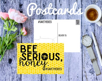 Save the Bees, Postcards, Resistance, Postcard, Earth Day, Climate Change, political postcards, activist, mail, protest, rise up, Honey Bees