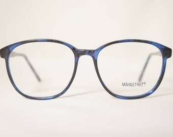 Oversized Vintage Eyeglass Frames, 1980's New Old Stock, Crystal Blue Amber, Mainstreet