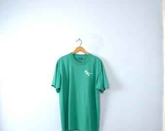 Vintage 80's graphic tee, Erie Materials work shirt, size XL
