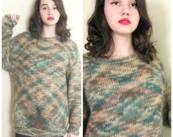 Vintage 1980s Hand Knit Sweater Bottle Green Wool / 80s Designer Oversized Mohair Sweater