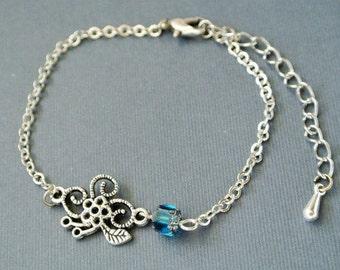 Flower Pendant Bracelet, Flower Bracelet, Floral Jewelry,Silver Bracelet