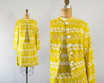 1960s Electric Lemon cotton dress & jacket set / 60s mod outfit