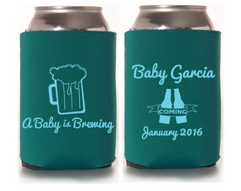 Baby Shower Favors - A Baby is Brewing Personalized Can Coolers, Coed Gender Reveal Party Gifts, Beer Insulators, Stubby Holders