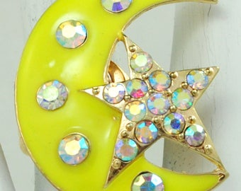 Celestial Statement Ring/Neon Yellow/Moon/Star/Rhinestone/Gift For Her/Summer Jewelry/Under 20 USD