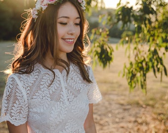 blossom and forest bridal wedding flower crown // Flore - multi-colour / bohemian floral headpiece flower crown / rustic wedding crown