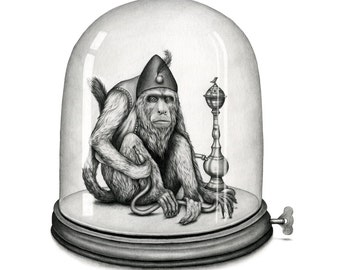 For A Jar Of Metal Coins - Limited Edition Print of a Hookah Smoking Monkey Trapped Under a Mechanical Bell jar