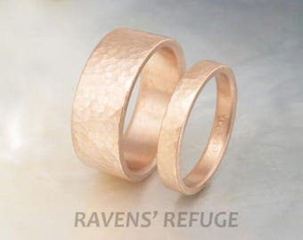 handmade wedding ring set -- 8mm and 3mm hammered rose gold wedding bands -- his and hers