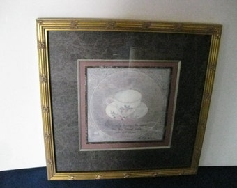 "Lovely ""Rose Teacup"" Gold Gilded Framed Still Life Print by Artist S. Hely Double Mat #ER"
