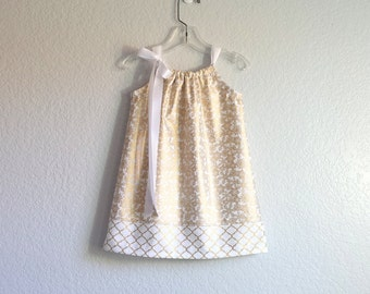 New! Girls Gold Party Dress - Metallic Gold Snowflakes on White - Girls Gold Pillowcase Dress - Size 12m, 18m, 2T, 3T, 4T, 5, 6, 8 or 10