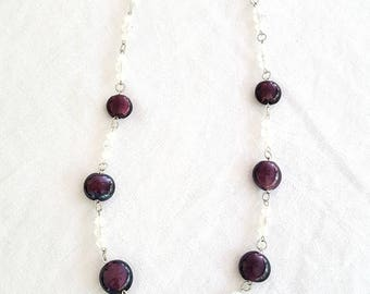 Purple White Glass Bead Necklace Vintage Beads
