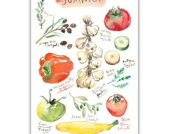 Summer vegetable print, 4X6 print, Seasonal vegetable poster, Kitchen art, Eat veggies, Red kitchen decor Watercolor painting Tomato artwork