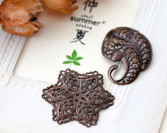 Vintage Brass Filigree Aged Brass Paisley and Star Floral Lacy Filigree Stampings with Brown Patina