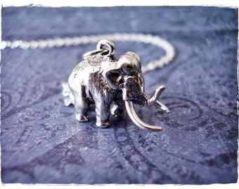 Sterling Mammoth Necklace - Sterling Silver Mammoth Charm on a Delicate Sterling Silver Cable Chain or Charm Only
