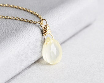 Small Yellow Lemon Chalcedony Gemstone Teardrop Pendant Necklace on 14K Gold Filled Chain