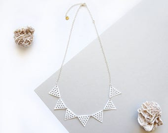Bunting Triangle Geometric Leather Mesh Hole Punched White Pennant Necklace Recycled Eco Friendly Sustainable Minimalist Lace Lightweight