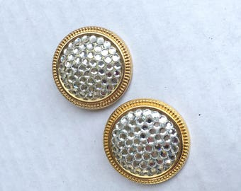 Pave Rhinestone and Gold Tone Clip On Earrings Lightweight Shiny Yellow Gold Tone Disc Button Earings