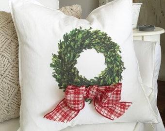 Boxwood Wreath Pillow   Farmhouse Christmas Decor   Pillow Cover   Farmhouse Decor   Cottage Decor   Christmas Pillow   Xmas Farmhouse