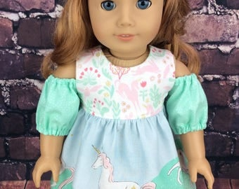 18 inch doll clothes, AG doll clothes, Unicorn dress made to fit dolls like american girl doll clothes. Matching Wellie size dress available