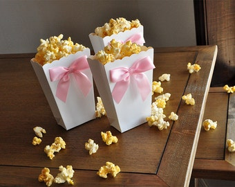 Mini Pink and White Popcorn Boxes. Handcrafted in 2-3 Business Days. Ready to Pop. Popped the Question. Baby Shower Popcorn Boxes. 10CT.
