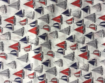 Red White  Blue Sailboat  Crib Sheet with French Seams