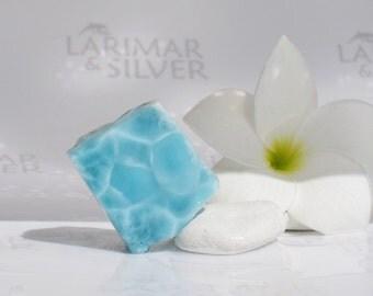 Larimar slab from Larimarandsilver - turquoise Larimar stone, turtleback, Atlantis stone, Caribbean turquoise slab, handmade Larimar supply