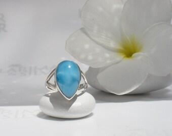 Larimarandsilver ring size 5, Little Princess - neon blue Larimar pear, royal blue ring, volcanic blue pear ring handcrafted Larimar ring